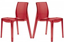 Lot de 2 Chaises Rouges Transparentes LADY - Lot de 2 chaises design
