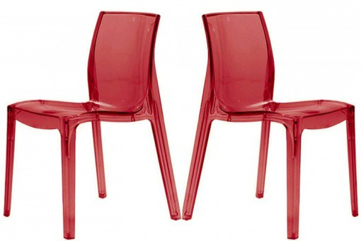 Lot de 2 Chaises Rouge Transparente LADY