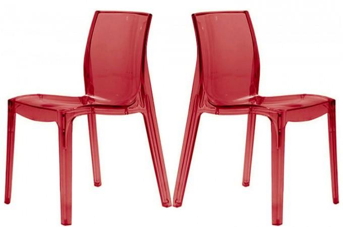 Lot de 2 chaises rouge transparente lady chaises design - Chaise transparente pas cher ...