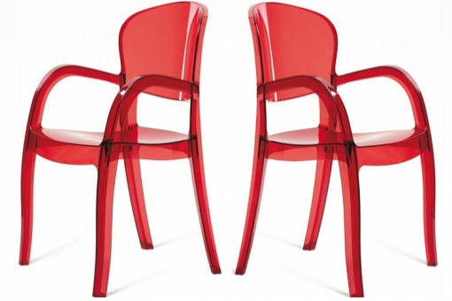 Lot de 2 Chaises Rouges Transparentes VICTOR