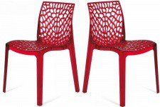 Lot de 2 Chaises Rouge Transparentes GRUYER TRANSPARENT - Lot de 2 chaises design