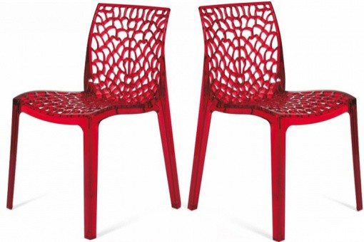 Lot de 2 Chaises Rouge Transparentes GRUYER TRANSPARENT