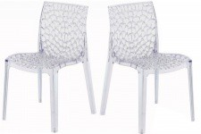 Lot de 2 Chaises Transparentes GRUYER TRANSPARENT - Lot de 2 chaises design