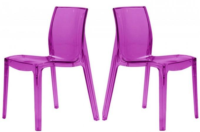 lot de 2 chaises violette transparente lady chaises design pas cher. Black Bedroom Furniture Sets. Home Design Ideas