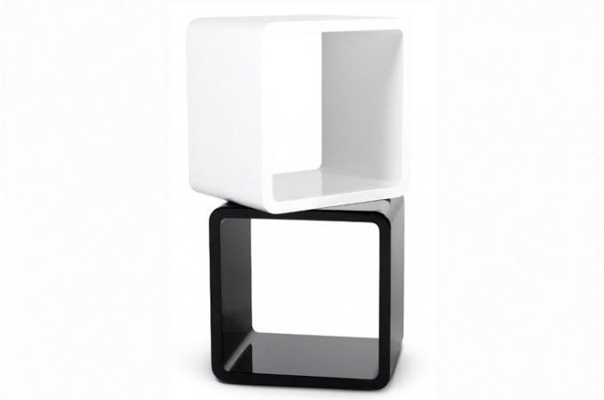 Chevet design cube blanc laqu tables de chevets pas cher - Table de chevet blanc laque ...