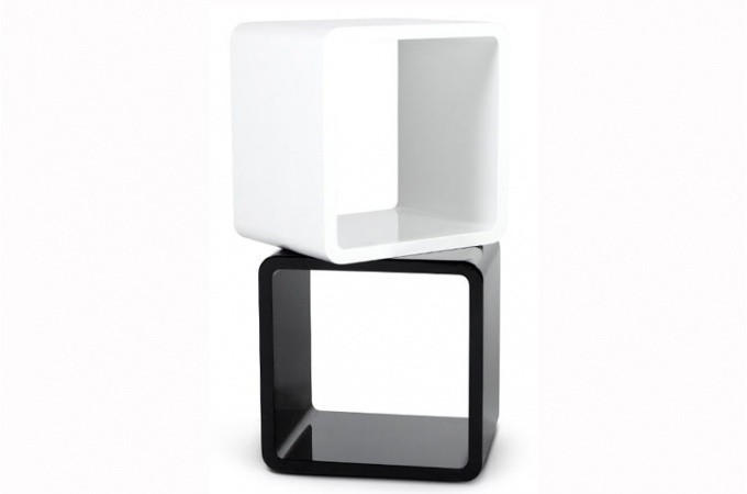 chevet design cube blanc laqu tables de chevets pas cher. Black Bedroom Furniture Sets. Home Design Ideas