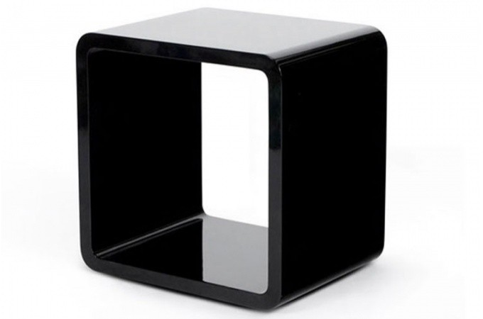 Chevet design cube noir laqu tables de chevets pas cher for Table de chevet noire
