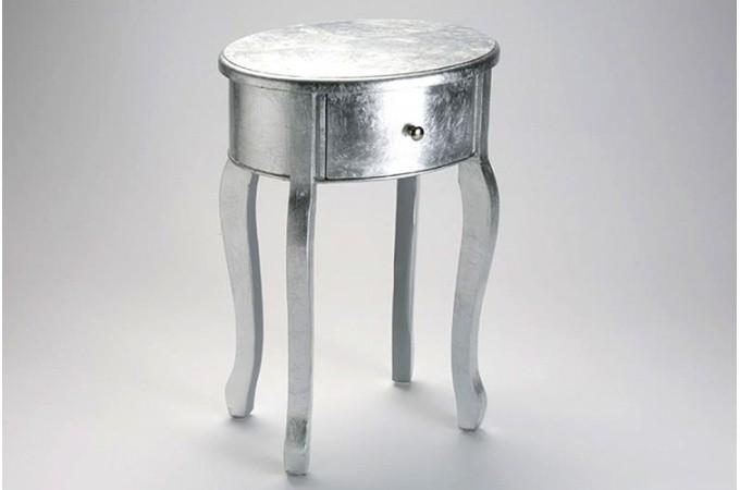 Table de chevet baroque argent 1 tiroir gery tables d - Table de nuit baroque pas cher ...
