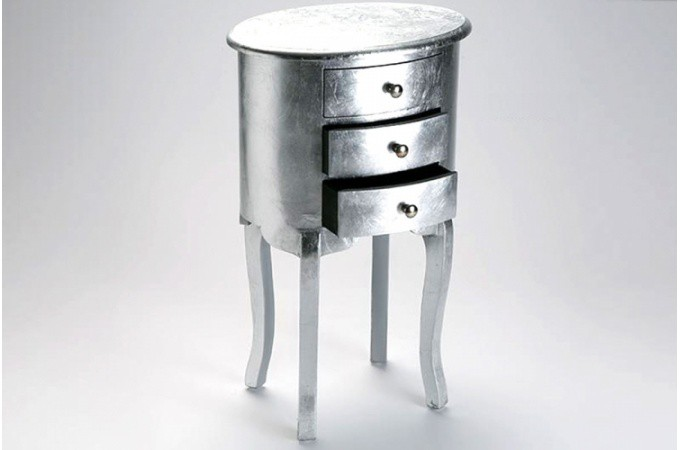 table de chevet baroque en argent gery tables de chevets pas cher. Black Bedroom Furniture Sets. Home Design Ideas
