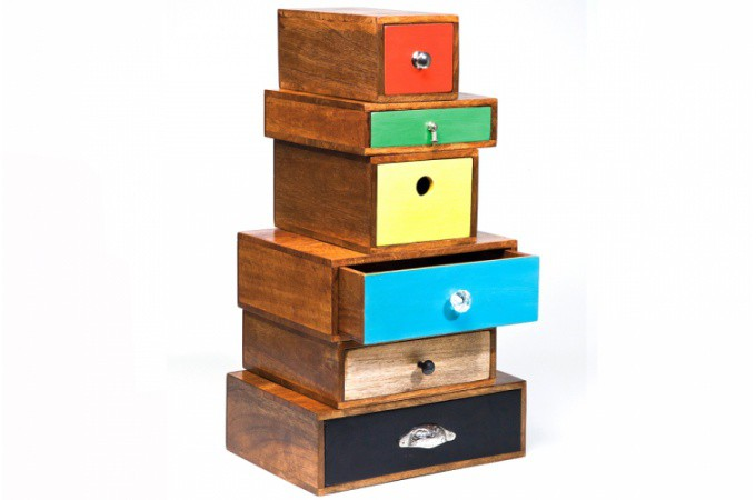 commode 6 tiroirs multicolores cam l on 72 cm commode pas cher. Black Bedroom Furniture Sets. Home Design Ideas