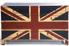 Commode Commode en bois Kare Design 6 tiroirs drapeau anglais Buckingham, deco design