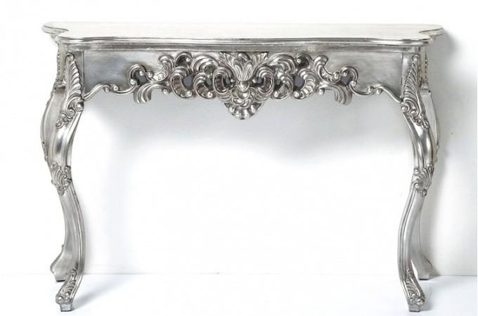 Console baroque argent patin consoles pas cher declik deco for Miroir baroque argent pas cher