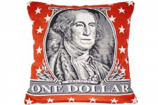 Coussin Jacquard Rouge Dollars - Coussin design
