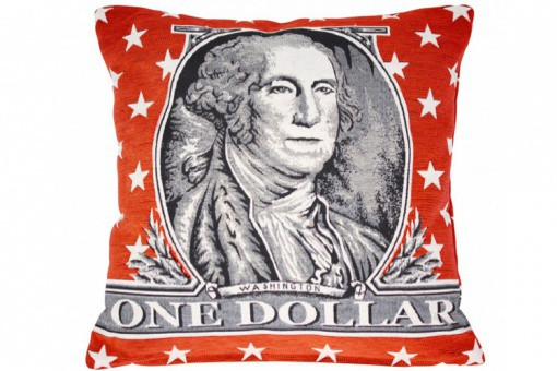 Coussin Jacquard Rouge Dollars