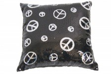 Coussin Paillette Noir Peace And Love - Coussin design