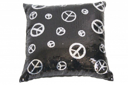 Coussin Paillette Noir Peace And Love