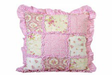 Coussin Patchwork en Tissu Rose - Collection deco patchwork