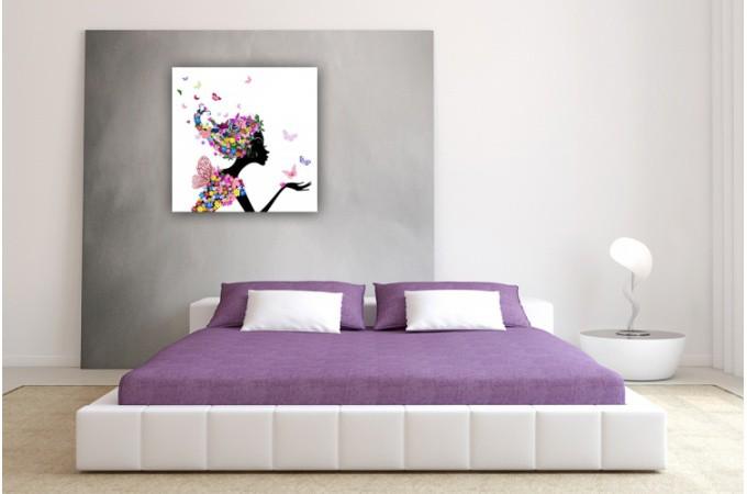 Tableau Enfant Fée des Fleurs 50X50 cm - Tableaux Enfants Pas Cher