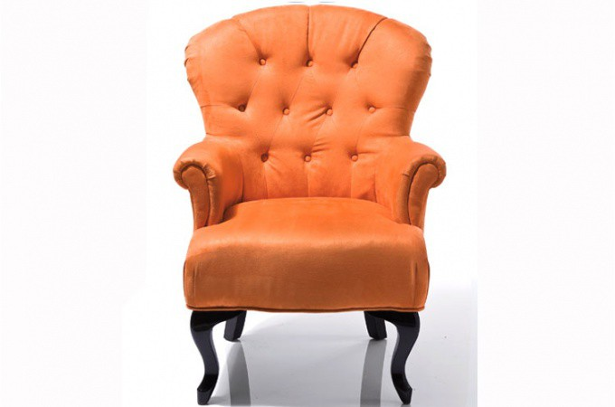 fauteuil baroque capitonn orange fauteuils design pas cher. Black Bedroom Furniture Sets. Home Design Ideas