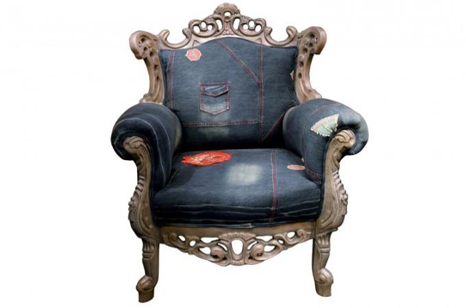 fauteuil baroque en jean trendy denim industriel declikdeco. Black Bedroom Furniture Sets. Home Design Ideas