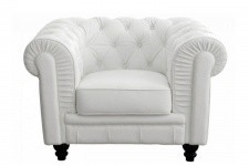 Fauteuil Chesterfield simili Blanc