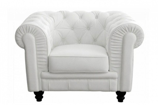 Fauteuil Chesterfield simili Blanc - Fauteuil simili cuir design