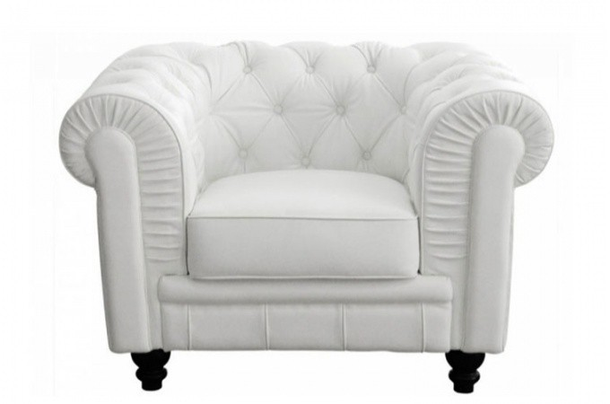 fauteuil chesterfield cuir blanc fauteuils classiques. Black Bedroom Furniture Sets. Home Design Ideas