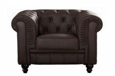 Fauteuil Chesterfield Simili Cuir Choco - Meuble design