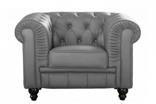 Fauteuil Chesterfield Simili Cuir Gris