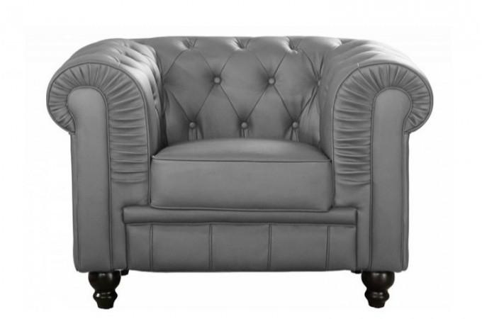 fauteuil chesterfield cuir gris fauteuils classiques pas cher. Black Bedroom Furniture Sets. Home Design Ideas