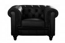 Fauteuil Chesterfield Simili Cuir Noir - Canapes chesterfield design