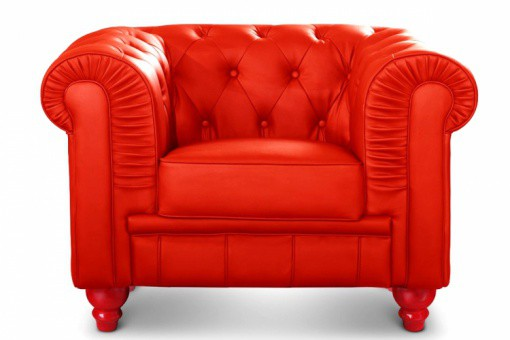 Fauteuil Chesterfield imitation cuir Rouge