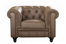 Fauteuil Chesterfield simili taupe - Meuble design