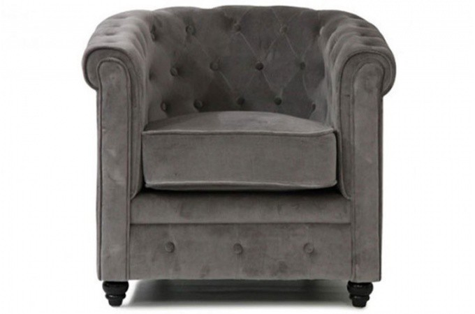 fauteuil chesterfield en velours gris. Black Bedroom Furniture Sets. Home Design Ideas