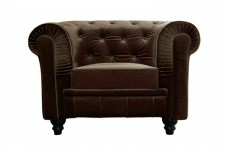 Fauteuil Chesterfield velours marron Hugo - Fauteuil chesterfield design