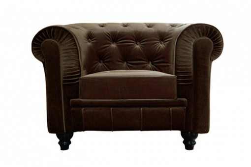 Fauteuil Chesterfield velours marron Hugo