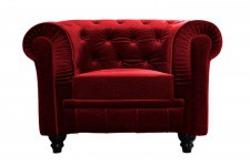 Fauteuil Chesterfield Velours Rouge - Fauteuil chesterfield design