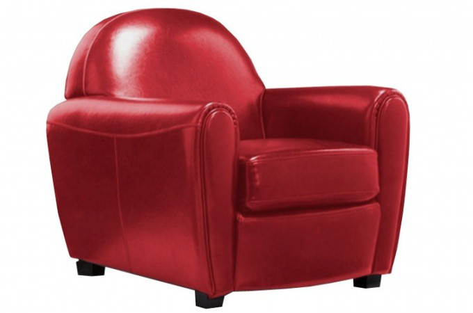 fauteuil club simili cuir rouge broadway fauteuils design pas cher. Black Bedroom Furniture Sets. Home Design Ideas