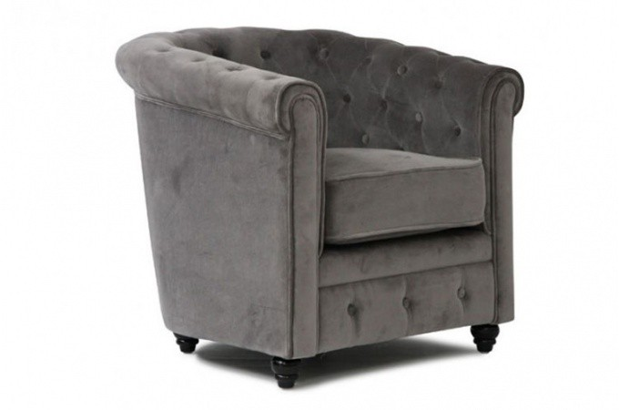 Fauteuil chesterfield en velours gris - Fauteuil chesterfield velours ...