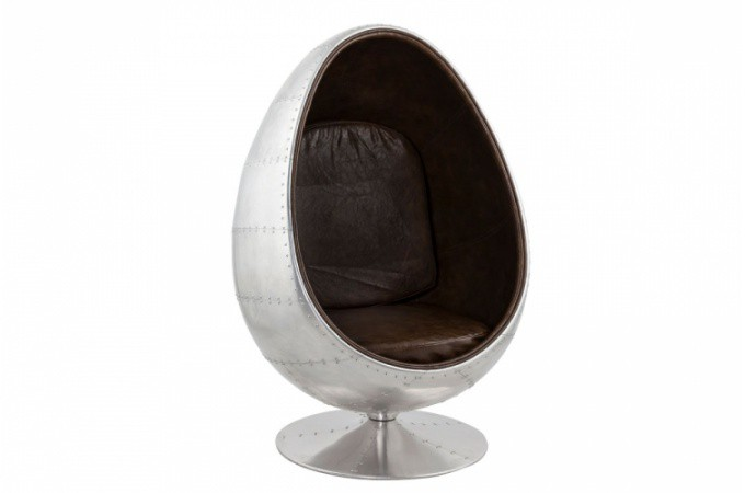 fauteuil oeuf aluminium et simili cuir marron carlingue fauteuils design pas cher. Black Bedroom Furniture Sets. Home Design Ideas