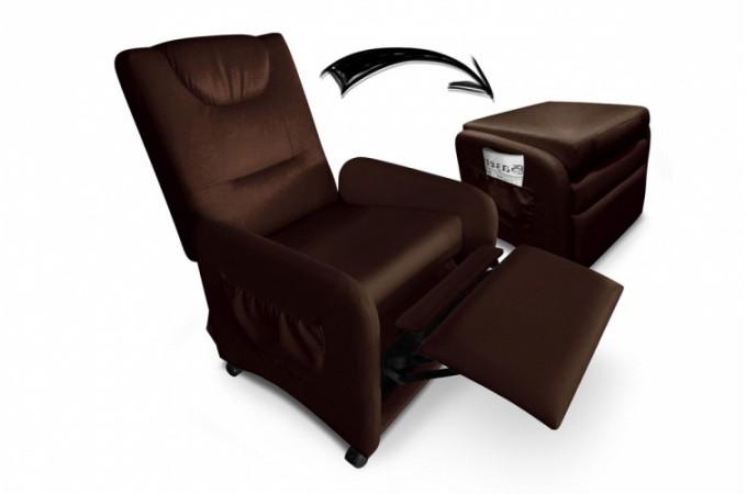 Declikdeco fauteuil relax marron avec repose pieds en simili cuir supplie - Fauteuil relax en cuir ...