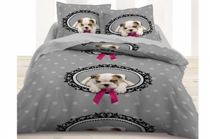Housse de couette pas ch re grise et rose parrure de lit - Housse de couette rose et grise ...