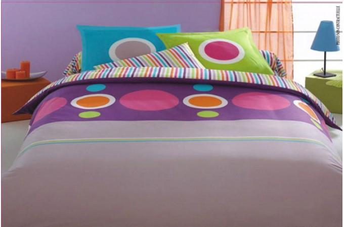 Declikdeco housse de couette multicolore pop 240x260 cm - Housse de couette multicolore ...