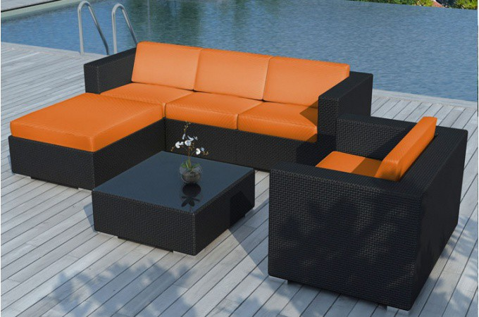 Salon de jardin résine tressée noir et orange LAGON - Salon de ...