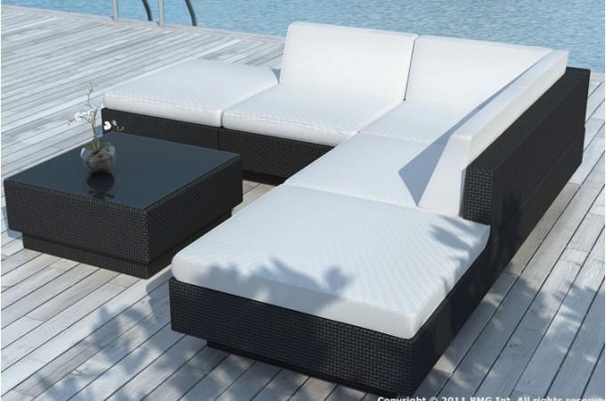 Canapé d\'angle + table de jardin noir et blanc écru en ...