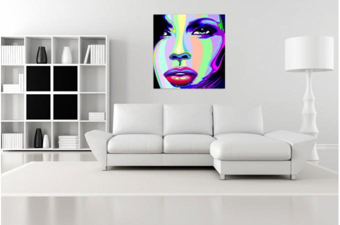 Tableau Pop Visage de Femme Coloré 60X60 cm - Tableaux Pop Art Pas Cher