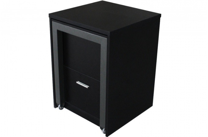 commode bureau coulissant noir commodes pas cher declik deco. Black Bedroom Furniture Sets. Home Design Ideas