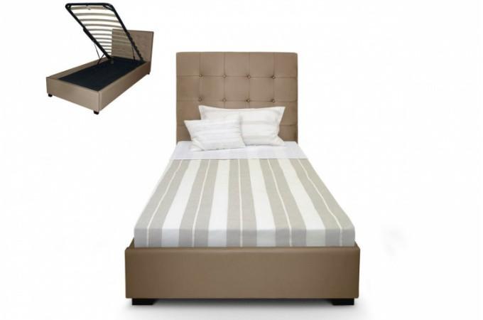 Lit coffre avec t te de lit capitonn e en cuir taupe lit for Tete de lit capitonne pas cher