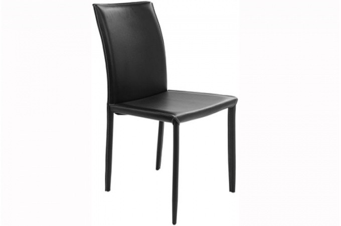 Chaise kare design simili cuir surpiqu noir vik chaise design pas cher - Chaise simili cuir noir ...