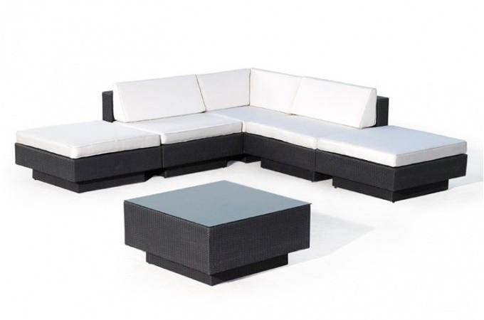 Canape D Angle Table De Jardin Noir Et Blanc Ecru En